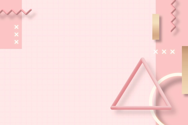 Rosa geometrischer memphis-hintergrund