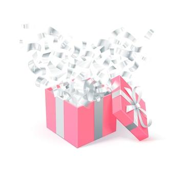 Rosa geschenkbox mit silbernem konfetti