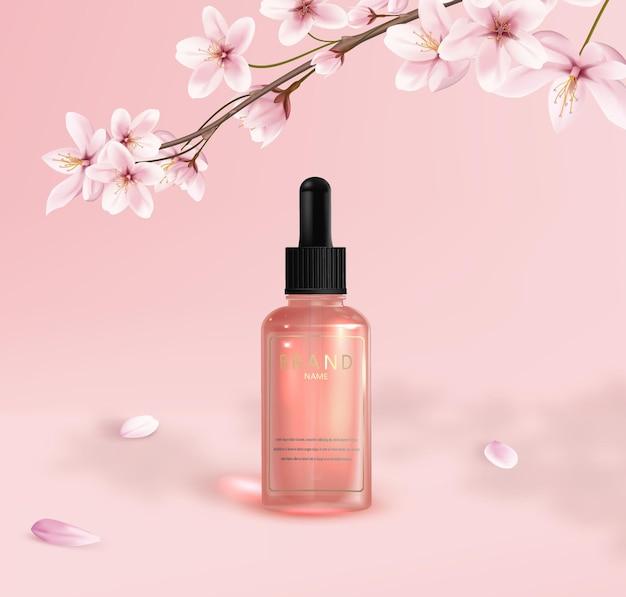 Rosa glaskosmetikflasche mit pipette mit sakura-blumen in einer niederlassung auf rosa hintergrund