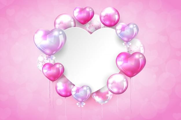 Rosa glatte ballone mit kopienraum in der herzform