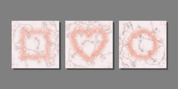 Rosa glitzer auf marmorhintergrundschablonen eingestellt