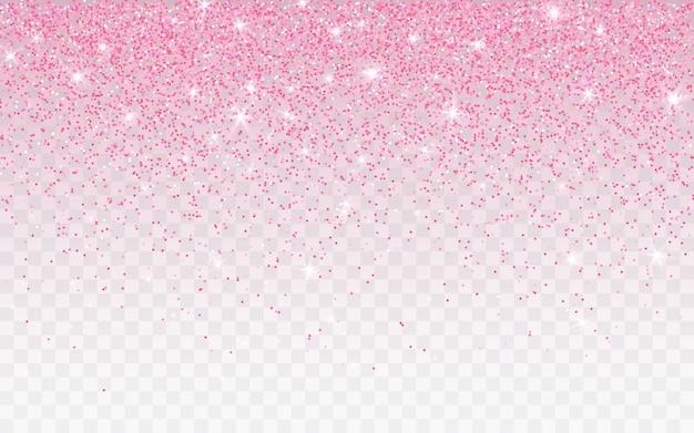Rosa glitzer funkeln auf einem transparenten hintergrund