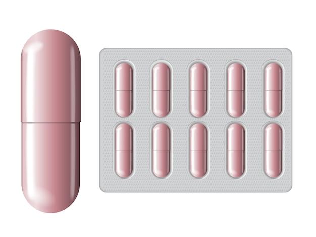 Rosa glutathion-packung mit kapsel