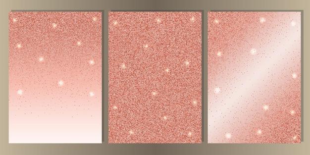 Rosa goldglitter auf weißem hintergrund-cover-set luxus abstrakte a4-vorlage für grußkarten