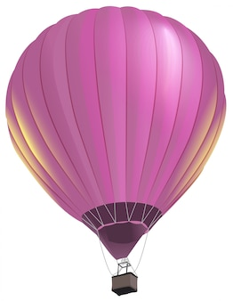 Rosa großer luftballon mit korbfliegen