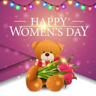 Rosa grußkarte der frauen mit teddybären