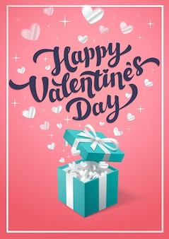Rosa grußkarte des glücklichen valentinstags mit türkisfarbener geschenkbox