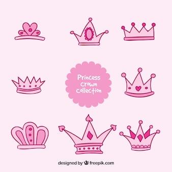 Rosa hand gezeichnet prinzessin krone sammlung