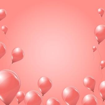 Rosa heliumballons auf rosa hintergrund. fliegende latex-3d-ballons. vektor-illustration.