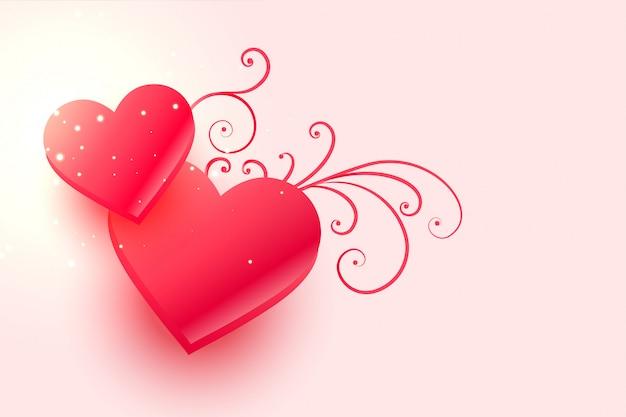 Rosa herzen für glücklichen valentinstag