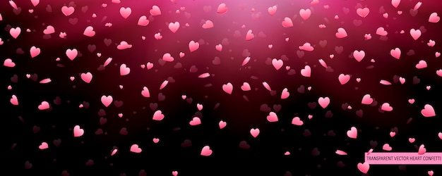 Rosa herzen konfettiblütenblätter des valentinstags, die vektorhintergrund fallen. herz textur muster.