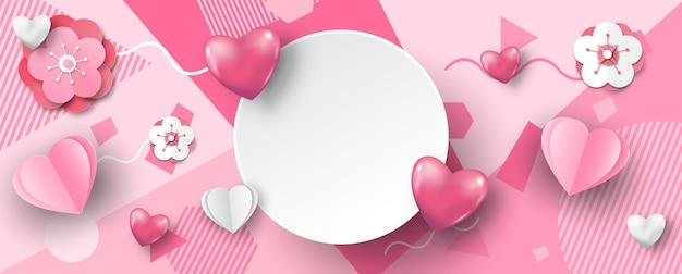 Rosa herzen mit kirschblüte und weißem banner, raum für texte im papierschnittstil auf rosa abstraktem musterhintergrund.