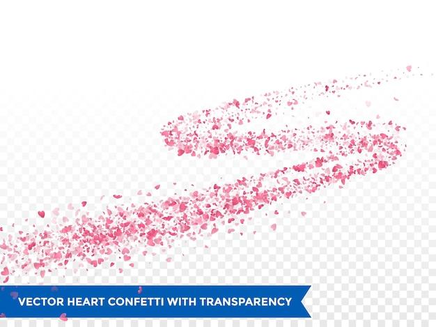 Rosa herzen spur oder vektor hochzeit liebe komet spur konfetti spur transparenten hintergrund