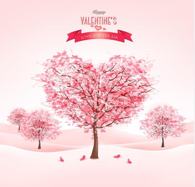 Rosa herzförmige sakura-bäume. valentinstag.