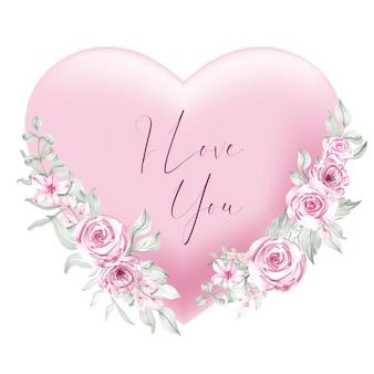 Rosa herzform des valentinsgrußes ich liebe sie wörter mit aquarellblume und -blättern