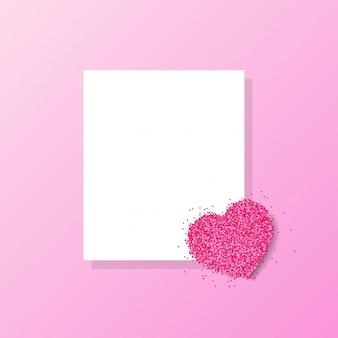 Rosa herzgrußkarte vektor