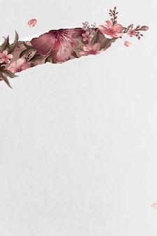 Rosa hibiskusmuster auf beige hintergrundvektor