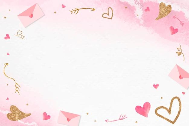 Rosa hintergrund des glitzernden herzrahmens des valentinsgrußes