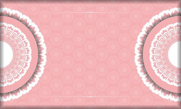 Rosa hintergrund mit abstrakter weißer verzierung für design unter ihrem text