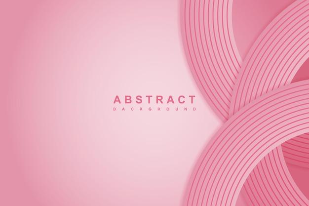 Rosa hintergrund mit farbverlauf mit 3d-kreis rosa papierschnitt-schicht