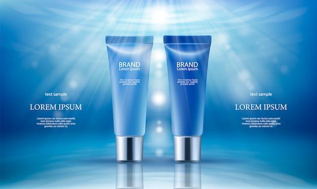 Rosa hintergrund mit feuchtigkeitsspendenden kosmetischen tag und nacht premium-produkte