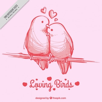 Rosa hintergrund mit handgezeichneten vögel