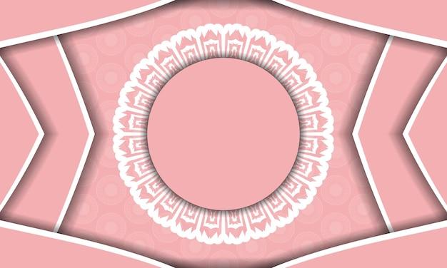 Rosa hintergrund mit indischen weißen ornamenten für design unter ihrem text