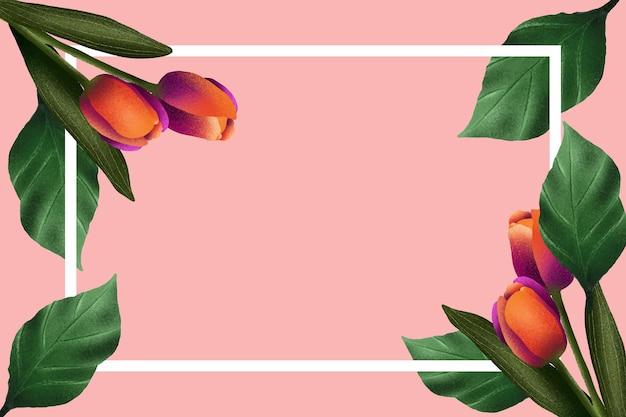 Rosa hintergrund mit orange und rosa tulpen