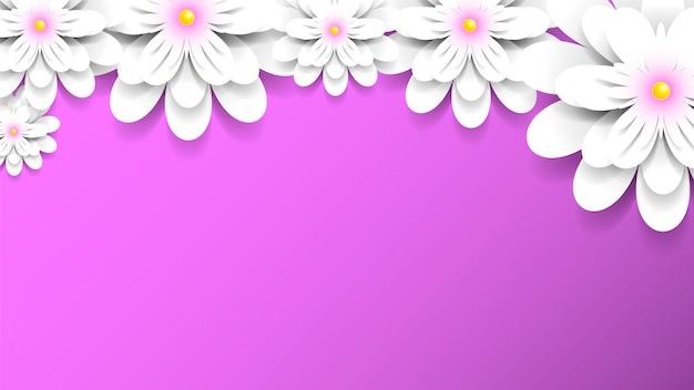 Rosa hintergrund mit weißen blumen