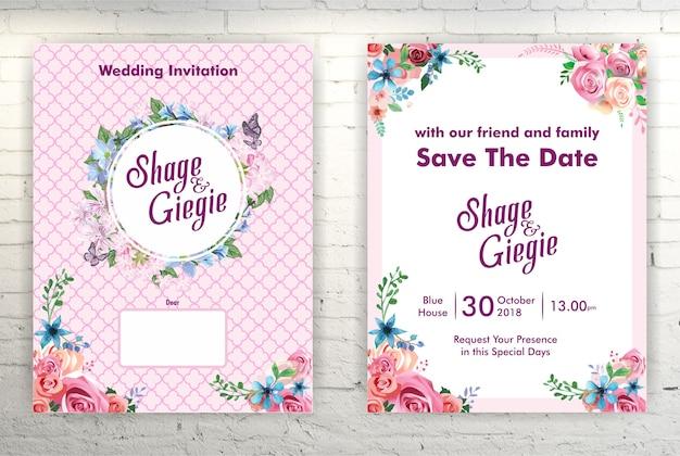 Rosa hochzeitseinladungskarte