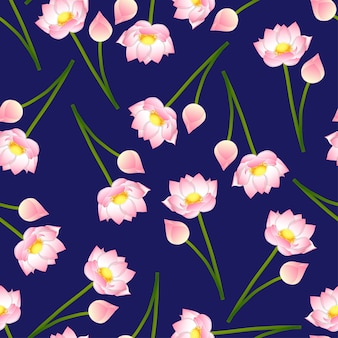 Rosa indischer lotos auf marineblau-hintergrund