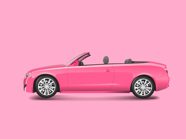 Rosa kabriolett in einem rosa hintergrundvektor