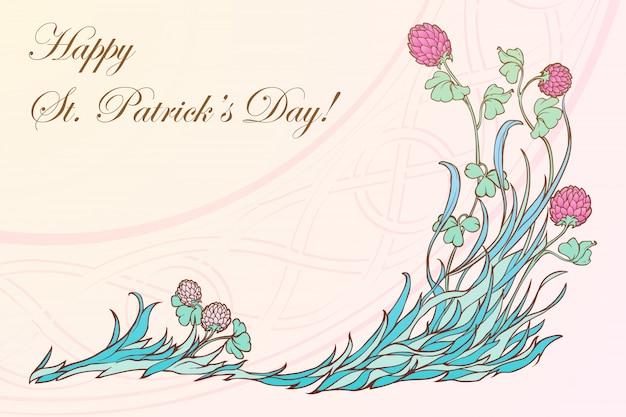 Rosa klee in der blüte und traditionelle keltisch gewebte verzierung. festliches design des st. patrick's day.