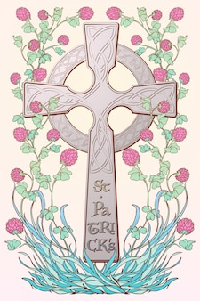 Rosa klee in voller blüte und traditionelles keltisches kreuz. festliches design des st. patrick's day.