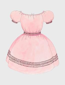 Rosa kleid-vektor-vintage-illustration, neu gemischt von der grafik von doris beer.