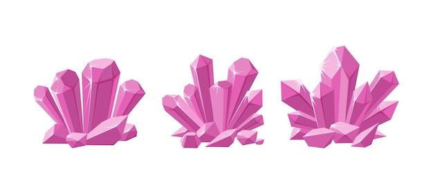 Rosa kristalle oder edelsteine set aus schimmernden kristallen für schmuck mit magischem funkeln