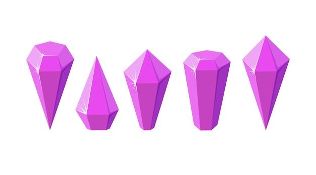 Rosa kristallsteine wie amethystquarz set aus geometrischen edelsteinen oder glaskristallen für spiele
