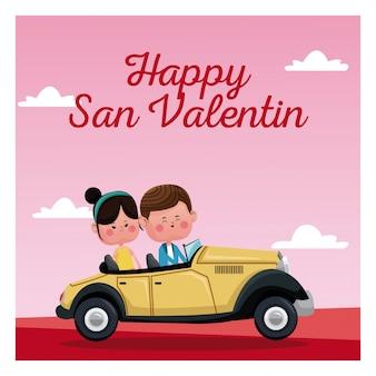 Rosa landschaft der glücklichen san-valentinsgrußkarten-klassischen autos