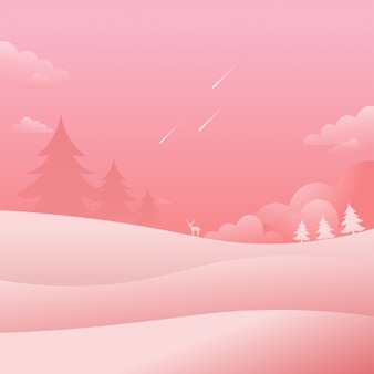 Rosa landschaftssturz-natur-hintergrund-flache art-vektor-illustration
