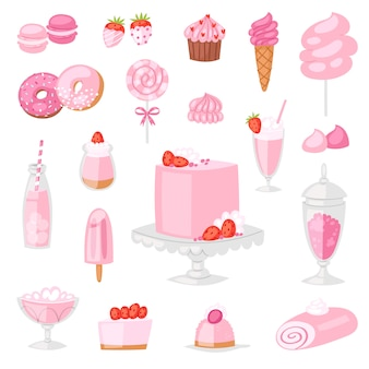 Rosa lebensmittelvektorrosa-kuchen mit süßem erdbeernachtisch mit kleinen getränken auf mädchenhaftem satz der geburtstagsfeierillustration des donuts oder der eiscreme lokalisiert