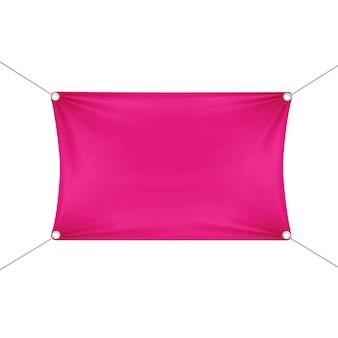 Rosa leere leere horizontale rechteckige fahne mit eckenseilen.