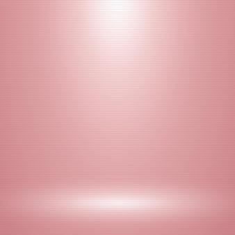 Rosa leerer raum mit einem scheinwerfer und horizontaler linienbeschaffenheit.