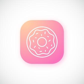 Rosa leuchtender knopf mit dünnem donut-symbol