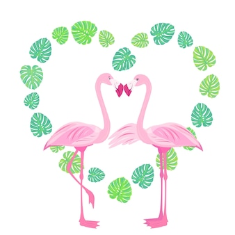 Rosa liebe flamingo valentinstag tropischer vogel paradiesvogel stock vector illustration