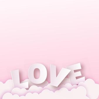 Rosa liebestext auf wolken. valentinstagskarte. .
