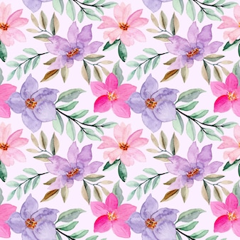 Rosa lila nahtloses muster mit aquarellblume