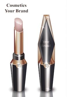 Rosa lippenstift kosmetik verpackung mock-up vektor realistisch. schönheitsmode bilden marke