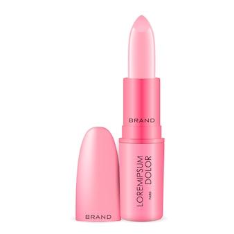 Rosa lippenstiftanzeigen mit dem kappenmodell lokalisiert