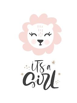 Rosa löwin handgezeichneter illustrationsvektor in doodle-stil und kalligraphischem text es ist ein mädchen. süßer löwinkopf