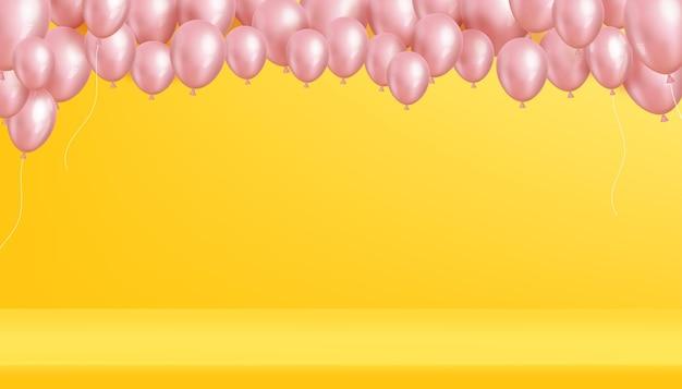 Rosa luftballons, die auf gelbem wandhintergrund 3d schweben